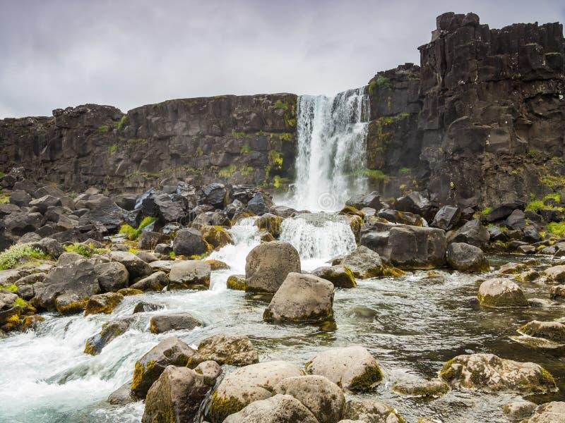 Härlig vattenfallThingvellir nationalpark, Island, Island royaltyfria foton