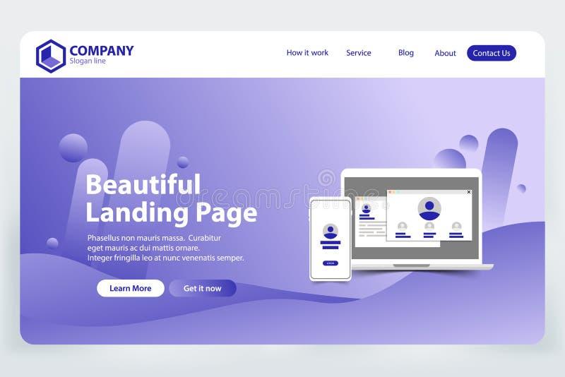 Härlig vektor för begrepp för design för mall för landningsidawebsite royaltyfri illustrationer