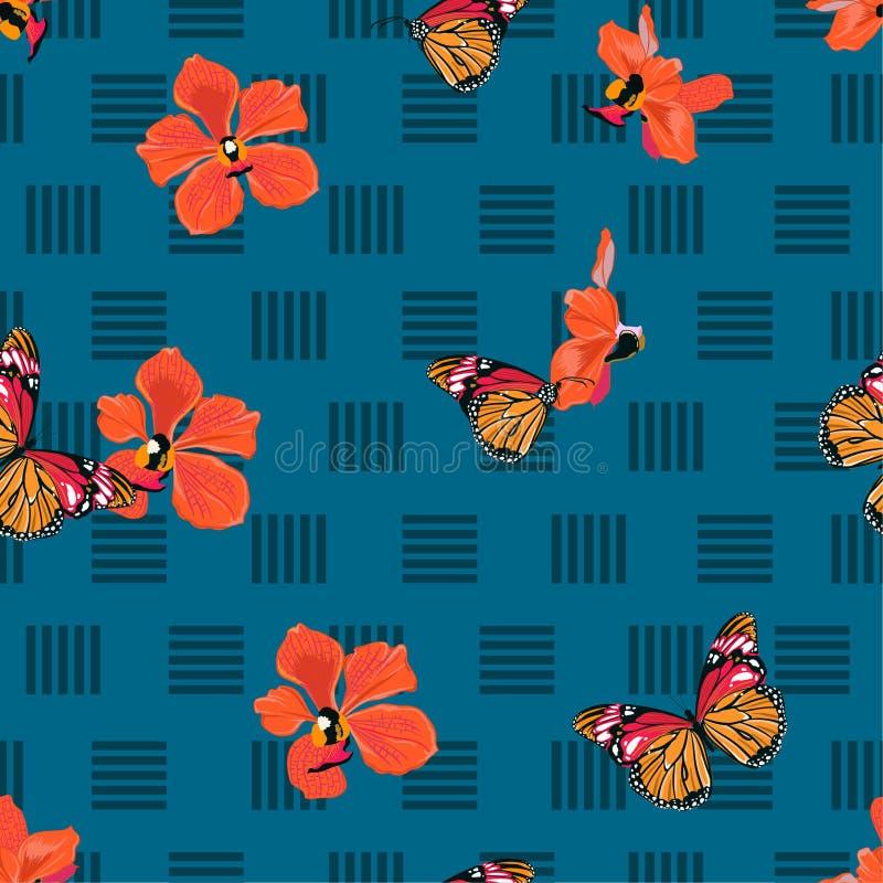 Härlig vektor för exotisk färgrik sömlös modell av fjärilar och orkidéblommor på den geometriska linjen design för mode, tyg, royaltyfri illustrationer