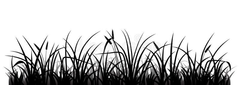 härlig vektor för gräsängsilhouette royaltyfri illustrationer