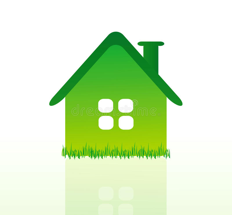 härlig vektor för grönt hus för ekologi stock illustrationer
