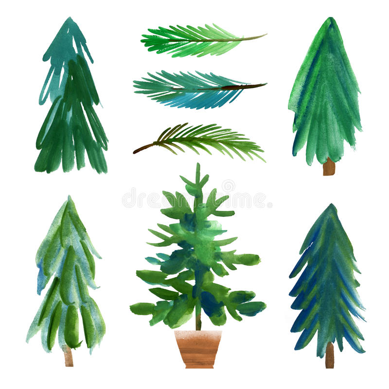 härlig vektor för julillustrationtrees stock illustrationer