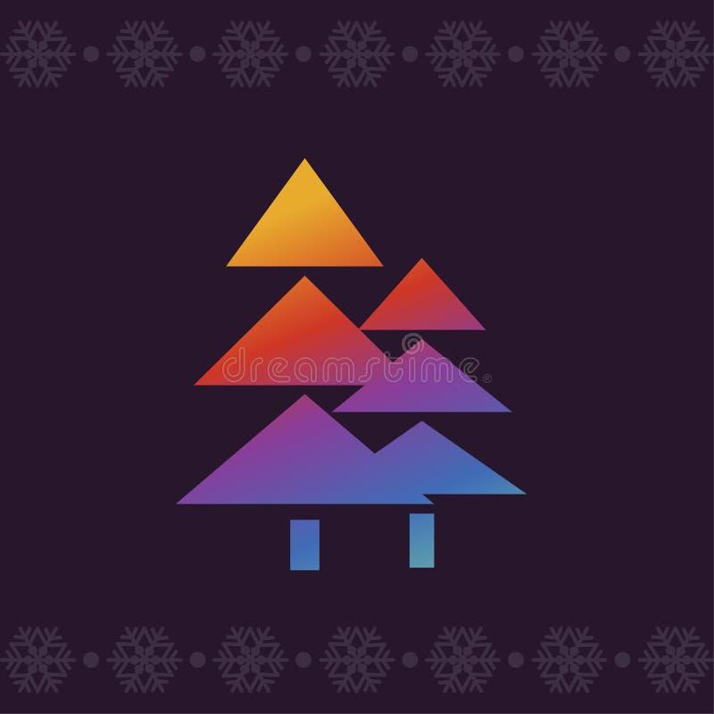 härlig vektor för julillustrationtrees colors modernt Linje konstvektorsymbol i ljusa krimskramslutningar för apps och websites g royaltyfri illustrationer