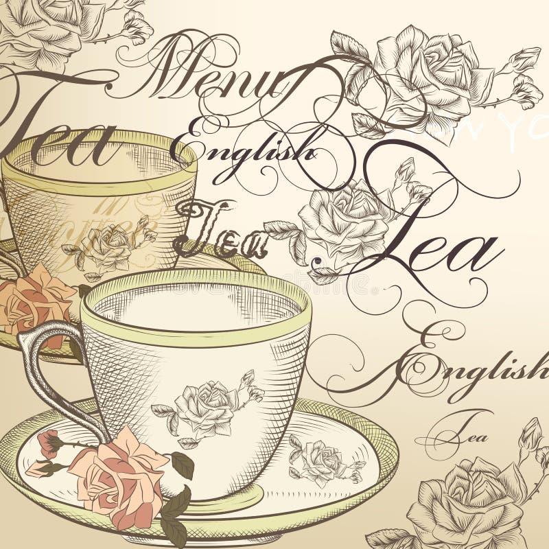 Härlig vektorbakgrund med kopp te och rosor i tappning stock illustrationer