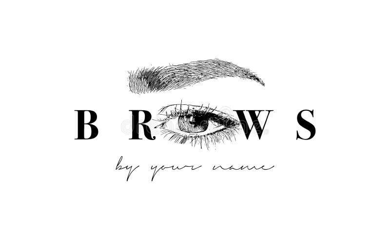 Härlig vektorhand som drar ögonbryn för logoen av förlagen på ögonbrynen den bästa originalen för affärskortet skrivar ut den kla stock illustrationer