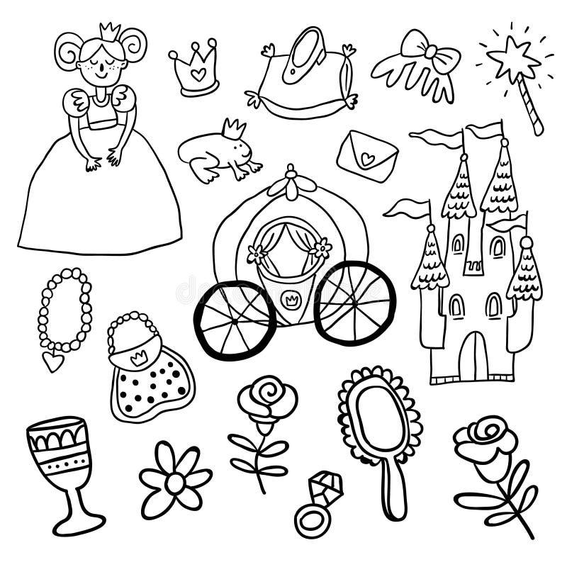 Härlig vektorprinsessa, slott, vagn, groda stock illustrationer