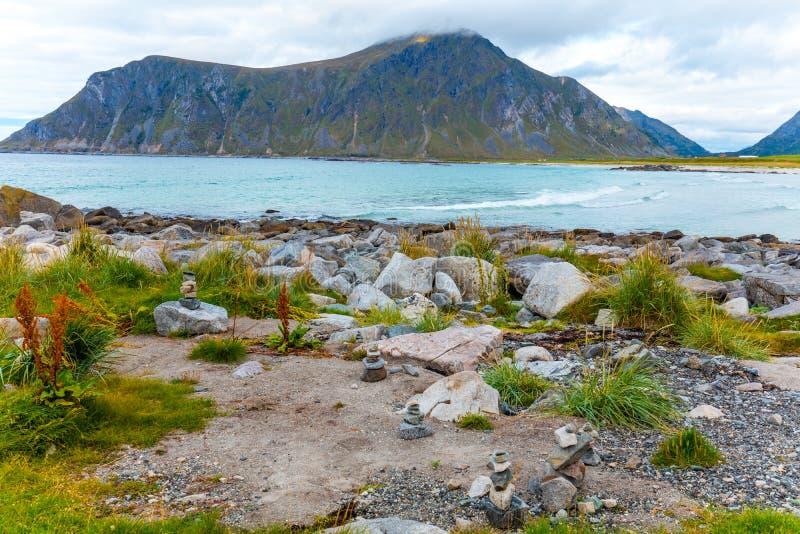 Härlig vildmark, stenig strand arkivfoto