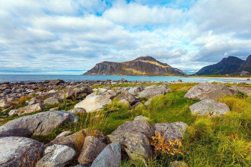 Härlig vildmark, stenig strand, sikt av fjorden arkivbilder