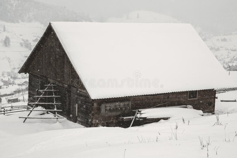 härlig vinter för liggandebergsoluppgång Soluppgång Carpatian dal med dimma och snö Carpathian vinterberg Tidig morni arkivbild