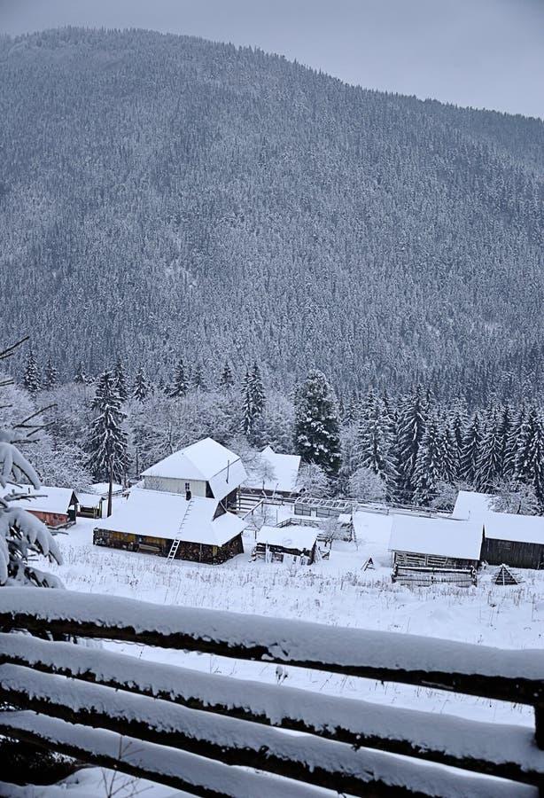 Härlig vinterdag i berg royaltyfri foto