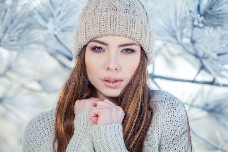 Härlig vinterstående av den unga kvinnan i det snöig landskapet arkivbilder