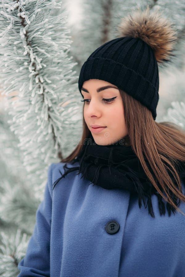 Härlig vinterstående av den unga kvinnan i det snöig landskapet för vinter royaltyfri bild
