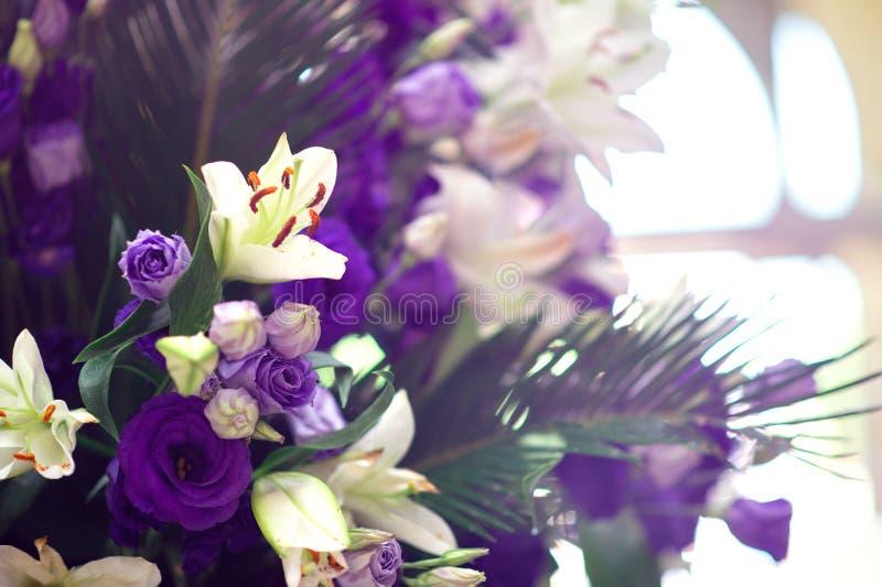 Härlig violett eustomabouqet royaltyfri foto