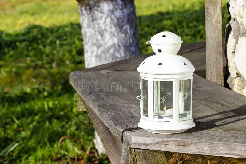 Härlig vit lykta i trädgården royaltyfria foton