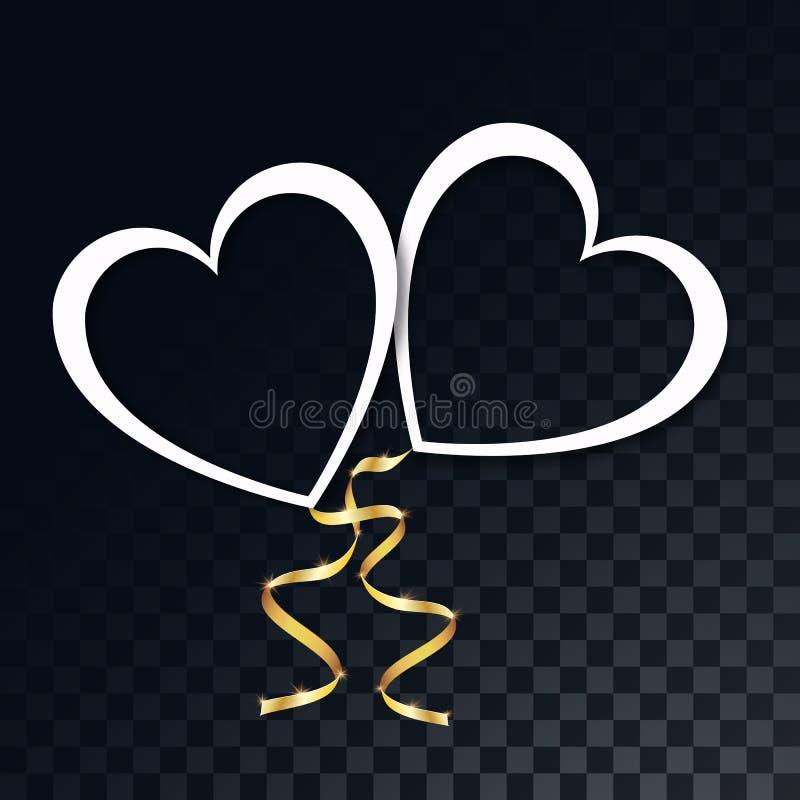 Härlig vitbok cutted hjärtor med guld- festliga band på en genomskinlig, mörk rutig svart bakgrund från fyrkanter vektor illustrationer