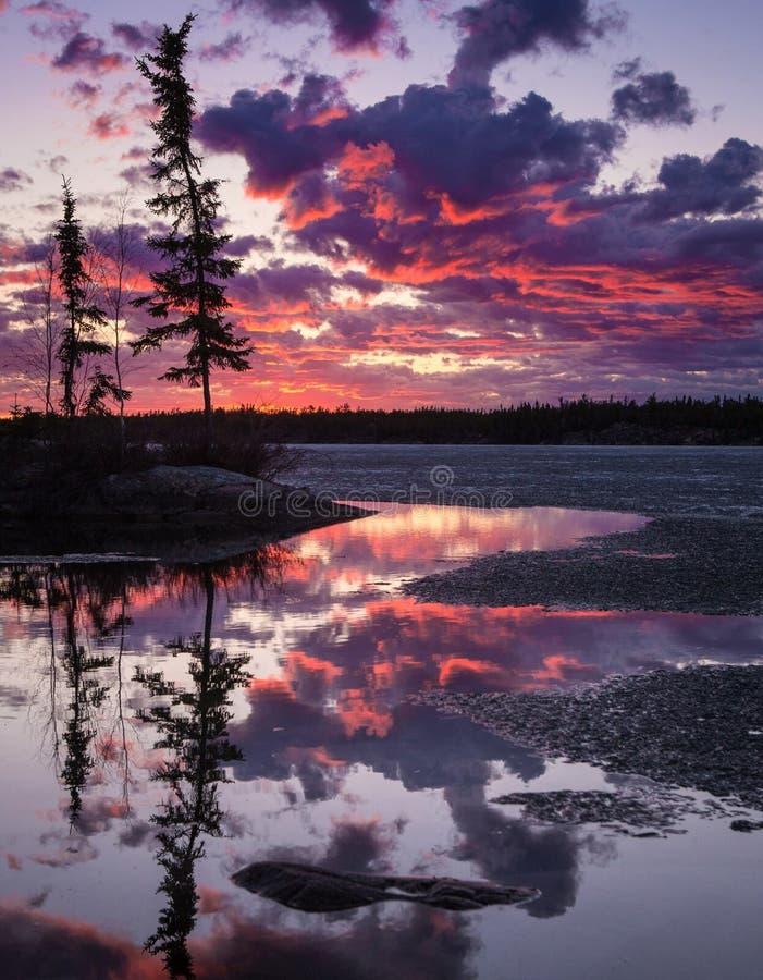 Härlig Yellowknife solnedgång som älskar de rosa himlarna arkivbilder