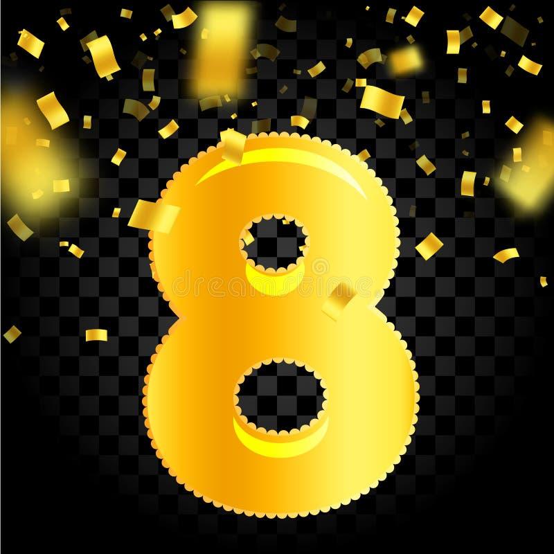 Härliga åtta i form av en uppblåsbar guld- boll, fallande konfettier av guld- färg på en svart bakgrund, vektor vektor illustrationer