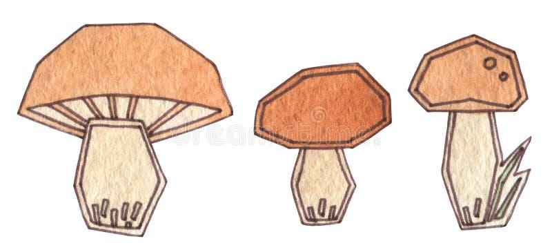 Härliga abstrakta bruna champinjoner på en vit bakgrund H?st Time Handteckningsvattenfärg med kontur stock illustrationer
