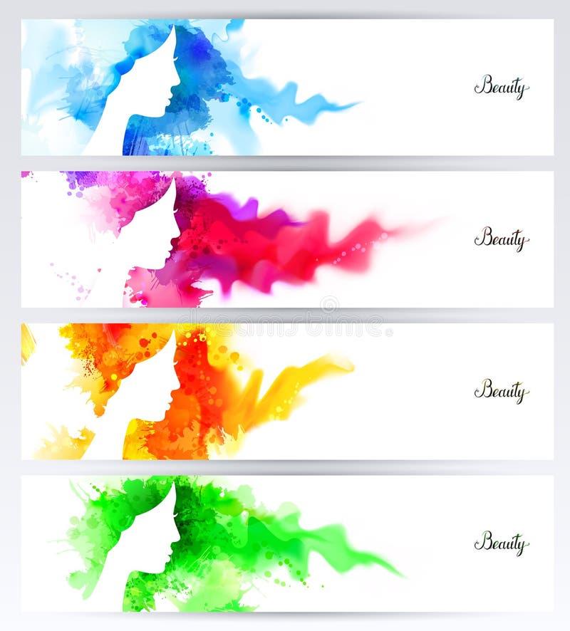 Härliga abstrakta kvinnaframsidakonturer är på de abstrakta färgrika bakgrunderna Uppsättning av fyra titelrader för baner stock illustrationer