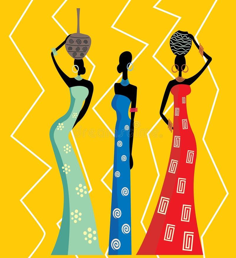 Härliga afrikanska kvinnor stock illustrationer