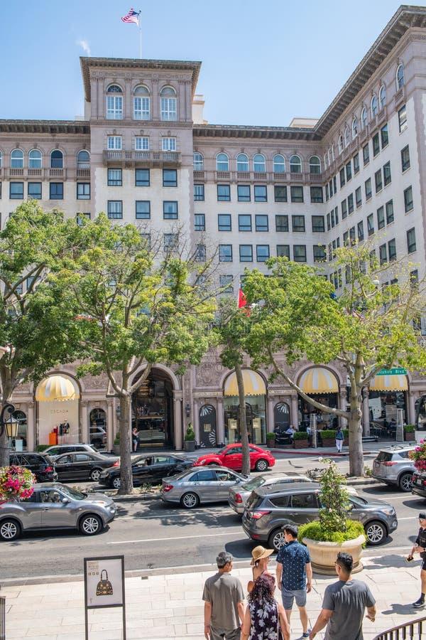 Härliga Beverly Hills, Kalifornien på en sommardag arkivbild