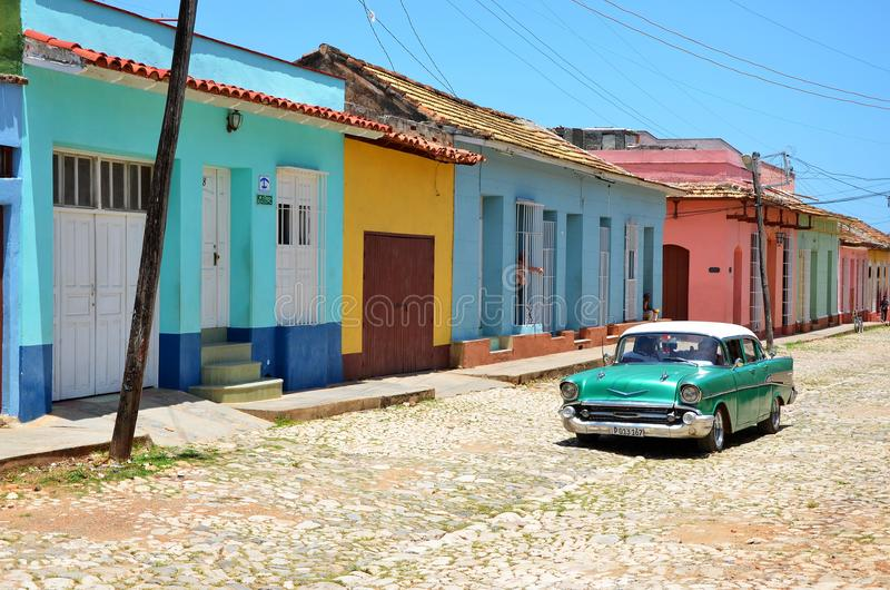 Härliga bilar av Kuban, koloniinvånare Trinidad royaltyfria foton