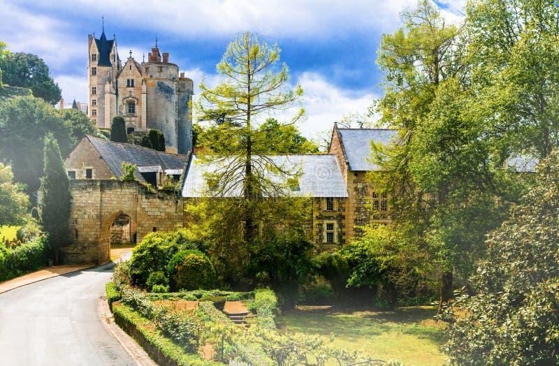 Härliga bildmässiga Loire Valley - sikt med Chateau de Montreui royaltyfria bilder