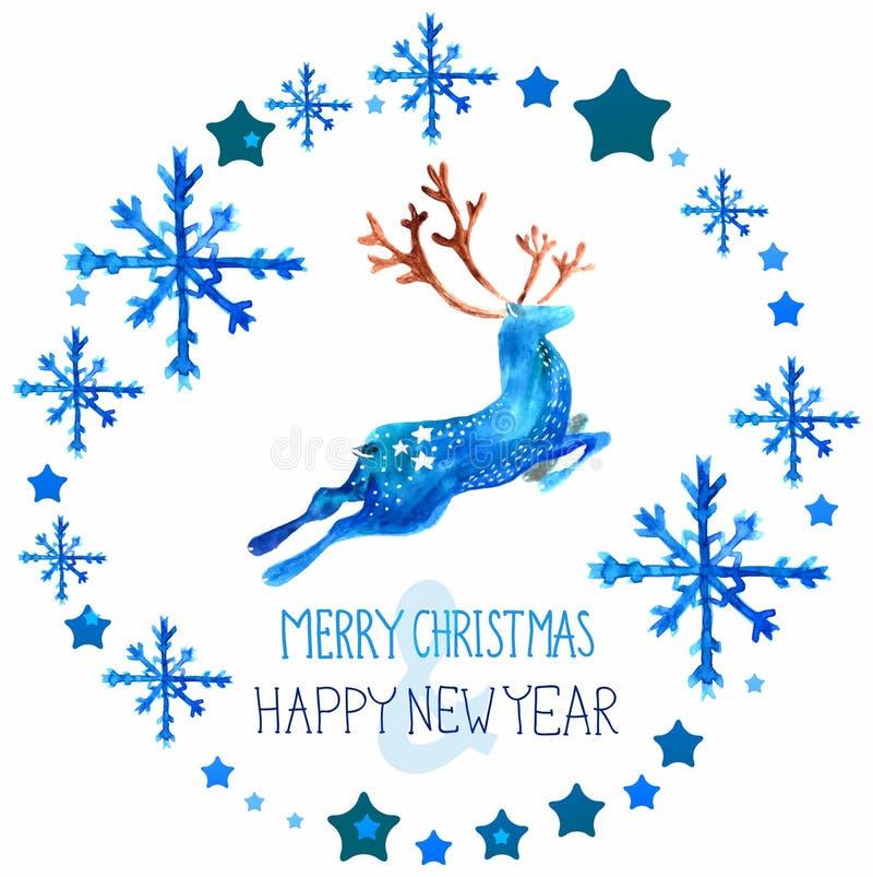 Härliga blåa hjortar för vattenfärg med snöflingor stock illustrationer
