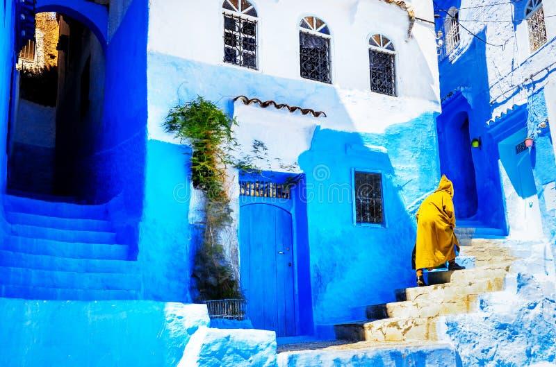 Härliga blåa medina av den Chefchaouen staden i Marocko, norr Afri royaltyfria bilder