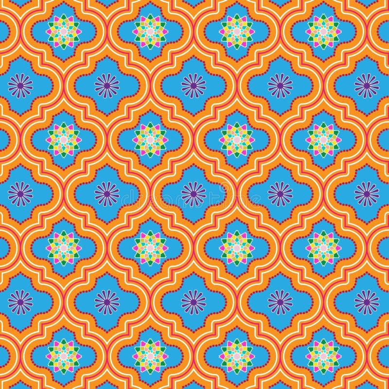 Härliga blått och apelsinen dekorerade den marockanska sömlösa modellen med färgrika blom- designer royaltyfri illustrationer