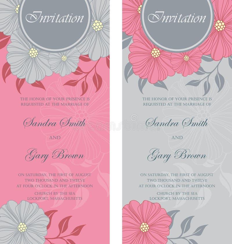 Härliga blom- bröllopinbjudningar vektor illustrationer