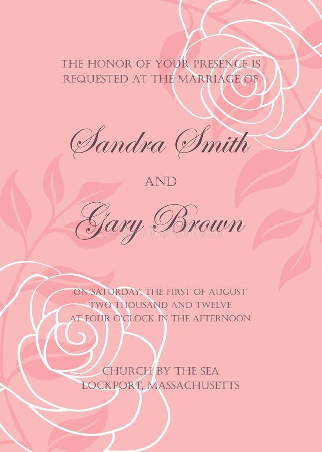 Härliga blom- bröllopinbjudningar stock illustrationer
