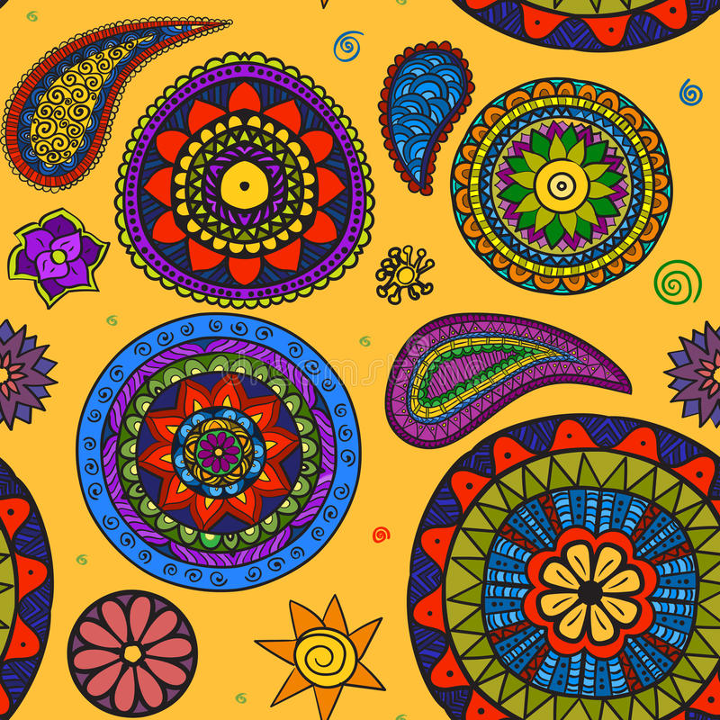 Härliga blom- för vektor och Paisley traditionella prydnadseamles stock illustrationer