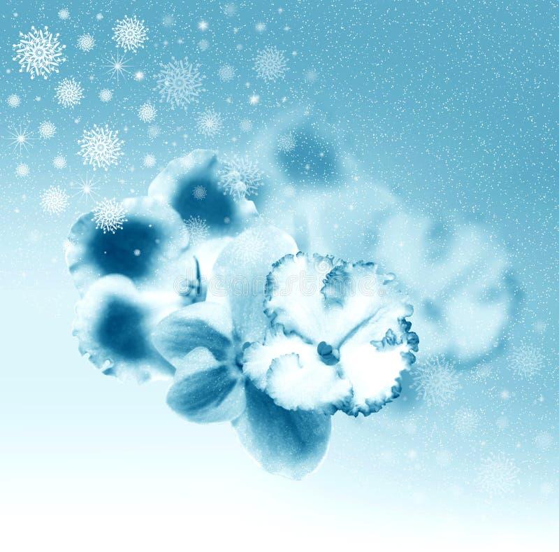 härliga blommasnowflakes stock illustrationer