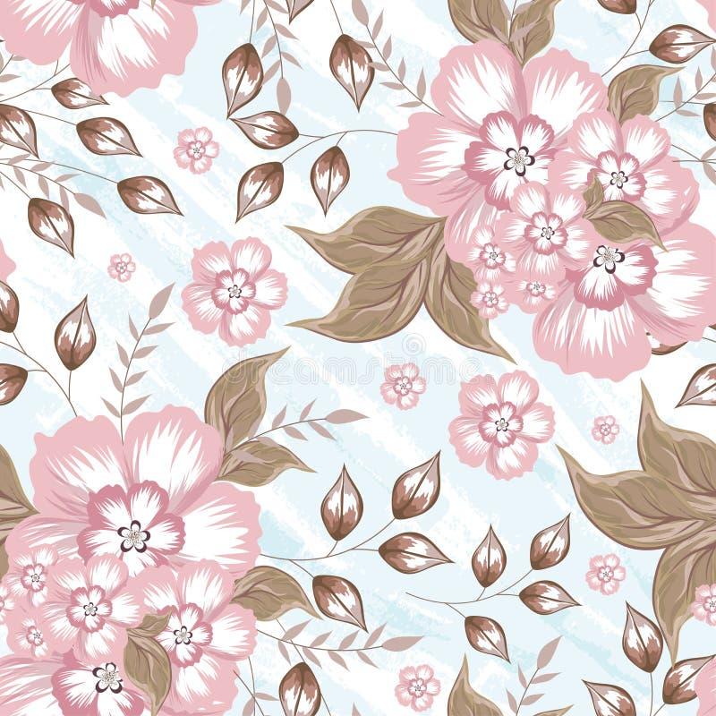 Härliga blommor dekorerade den sömlösa modellen stock illustrationer