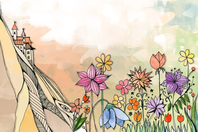 Härliga blommor växer på foten av berget med slotten Fantasiteckning Färgrikt vattenfärglandskap stock illustrationer