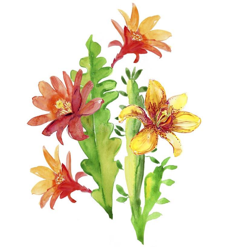 Härliga blommor, vattenfärgillustration vektor illustrationer