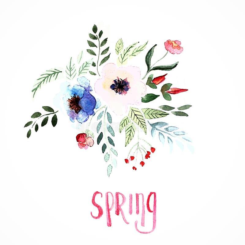 Härliga blommor, vattenfärgmålning royaltyfri illustrationer