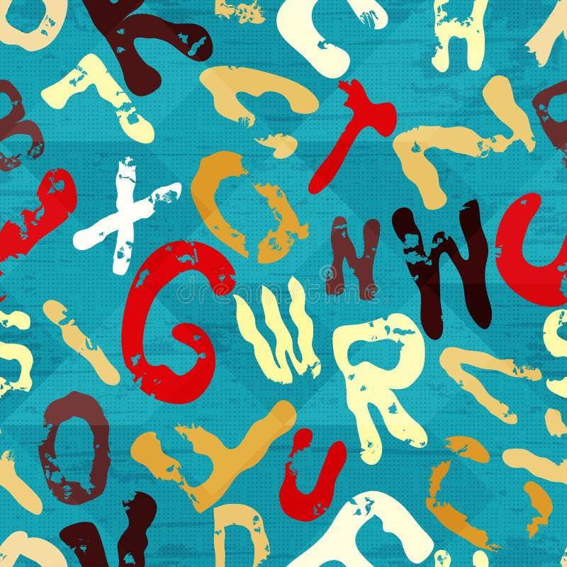 Härliga bokstavsgrafitti på en geometrisk grungetextur för blå bakgrund royaltyfri illustrationer