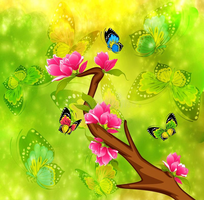 härliga bonsai vektor illustrationer
