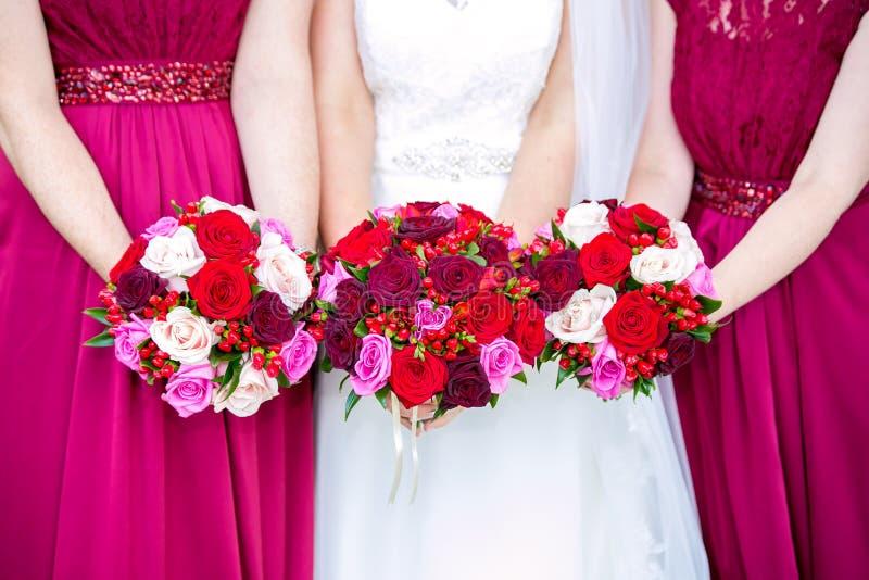 Härliga bröllopbuketter arkivfoto