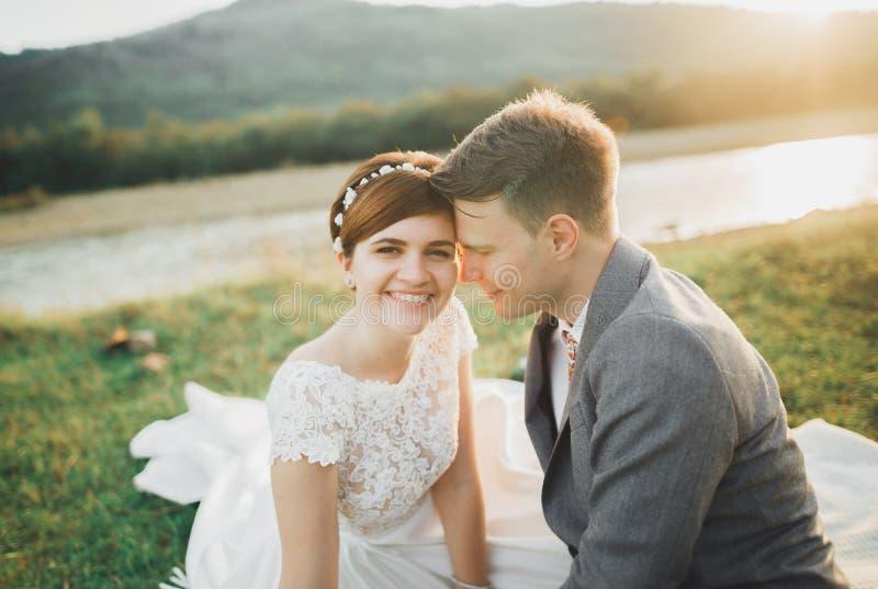 Härliga brölloppar, brud och brudgum som är förälskade på bakgrunden av berg arkivbild