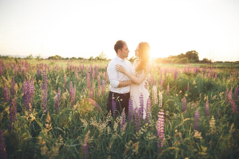 Download Härliga Brölloppar, Förälskelse På Solnedgången Fielf Med Blommor Fotografering för Bildbyråer - Bild av berg, manlig: 78726677