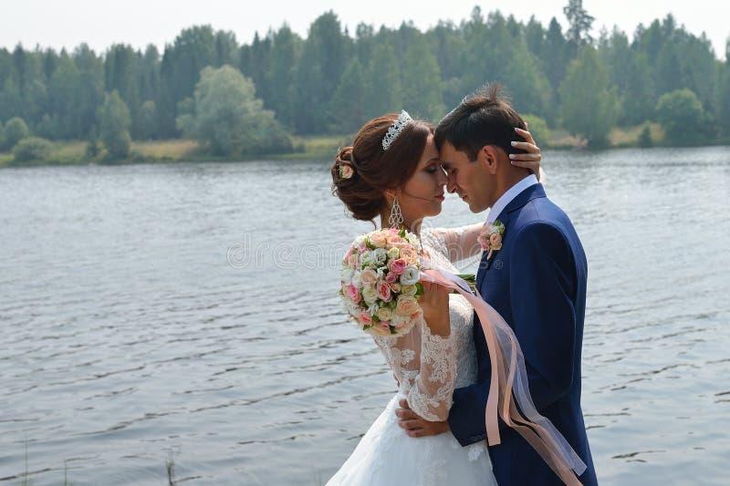 Härliga brölloppar som kysser och omfamnar nära sjön royaltyfria foton