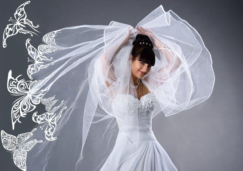 härliga brudfjärilar klär white royaltyfri bild