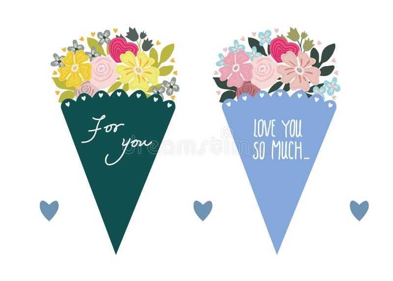 härliga bukettblommor Rosa färgen blommar i en gåvaask En gåva för dag för valentin` s och dag för kvinna` s bokstäver vektor illustrationer