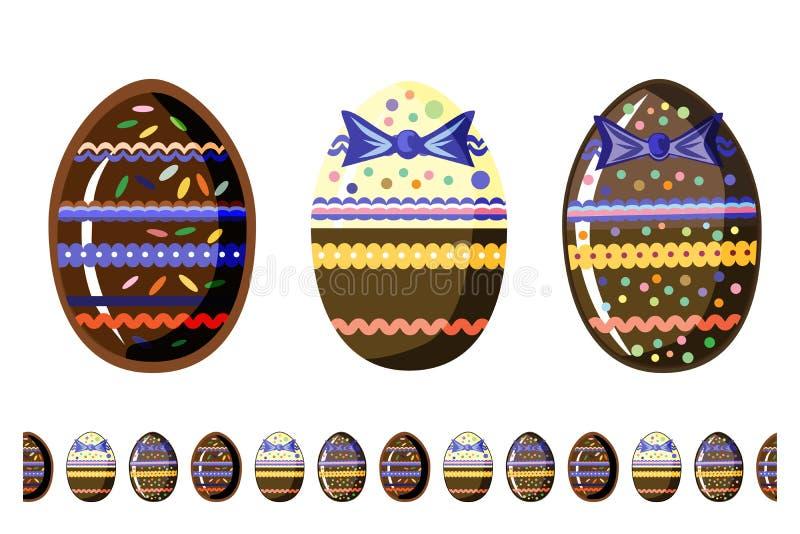 Härliga chokolateägg med den sömlösa borsten som isoleras på vit bakgrund royaltyfri illustrationer