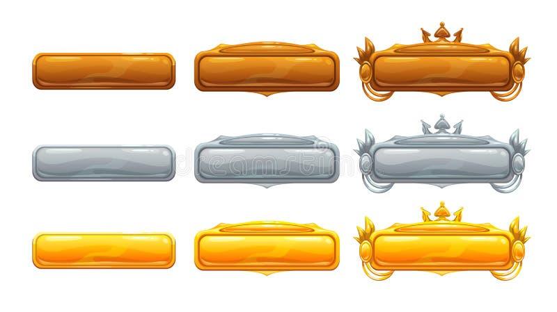 Härliga dekorativa metalltitelbaner stock illustrationer