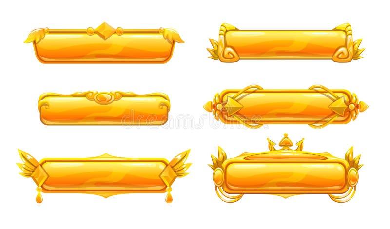 Härliga dekorativa metalltitelbaner royaltyfri illustrationer