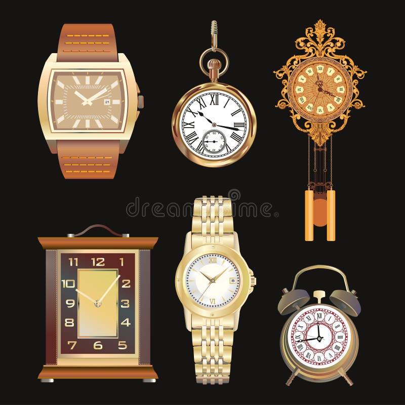Härliga detaljerade uppsättningillustrationer av olika klockor Vägg tabell, klockor retro stil royaltyfri illustrationer